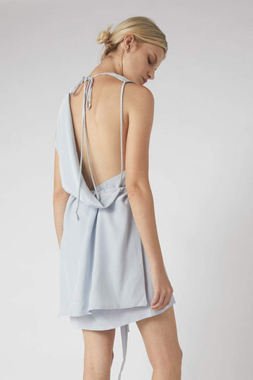 Deconstructed Collapse Back Mini Dress / Powder Blue