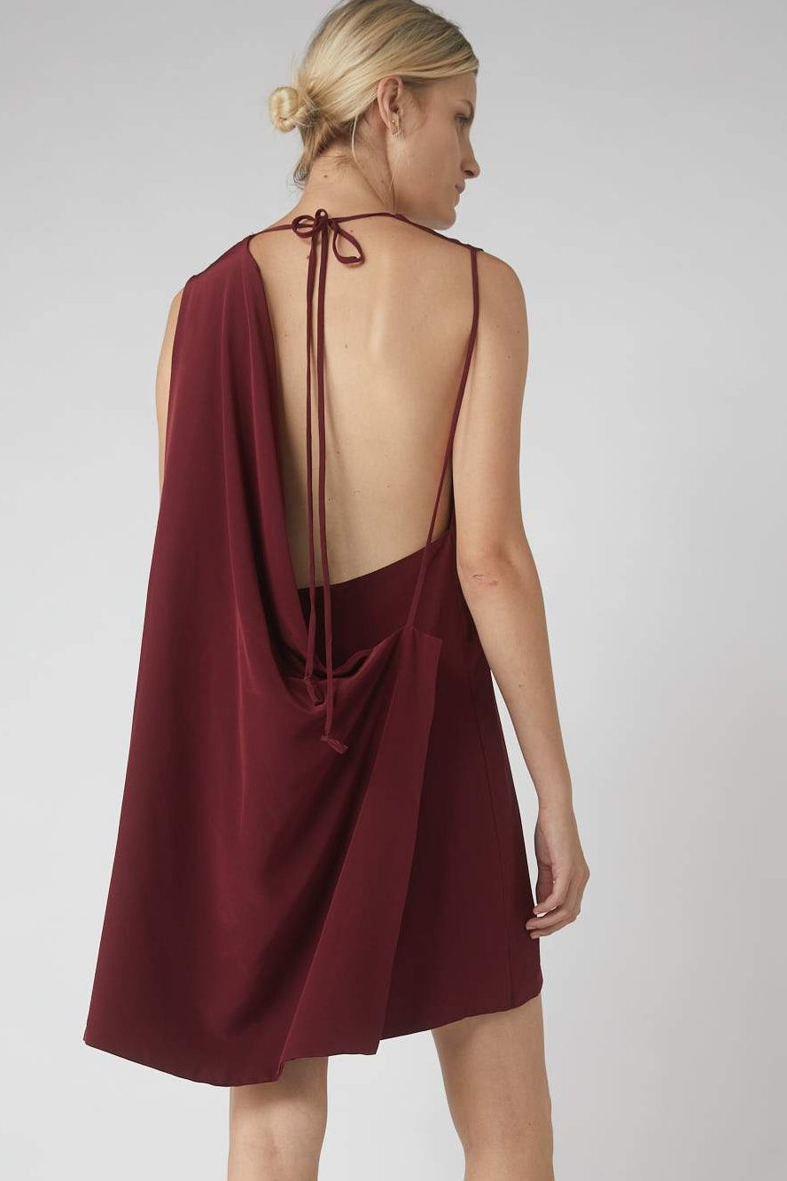 Deconstructed Collapse Back Mini Dress / Merlot