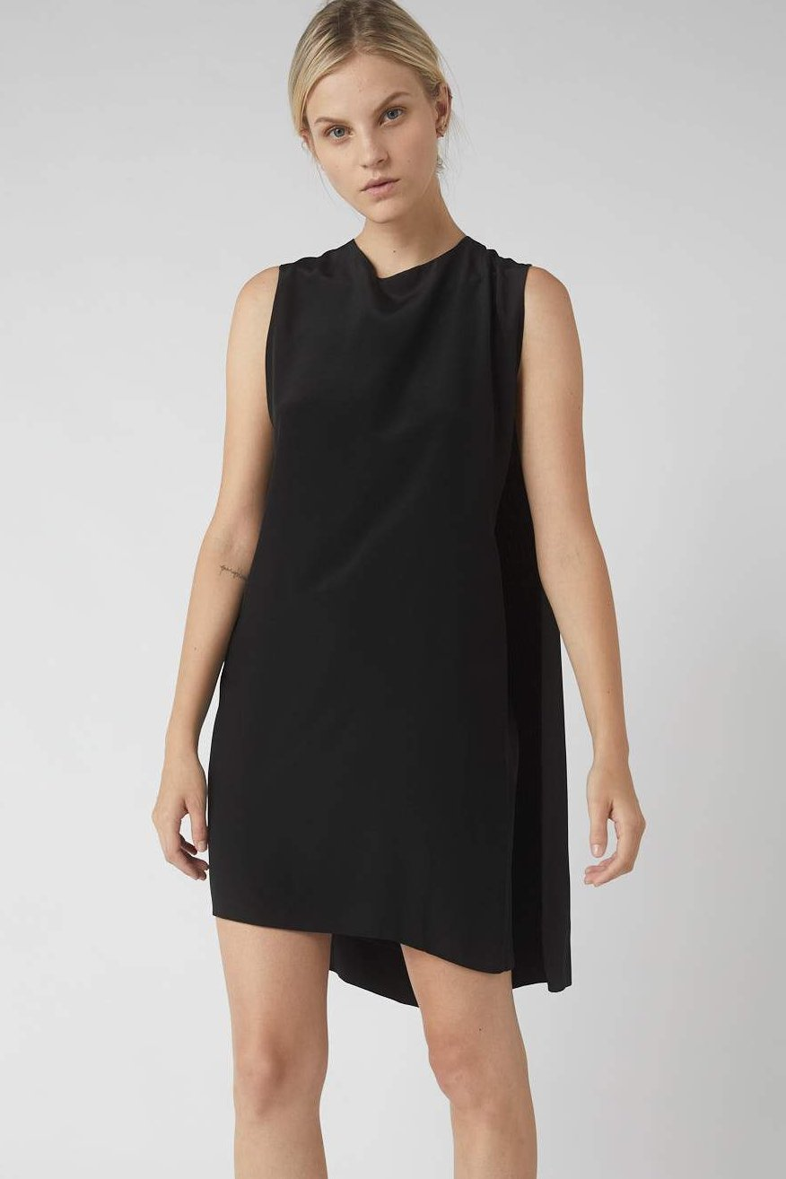 Deconstructed Collapse Back Mini Dress / Black