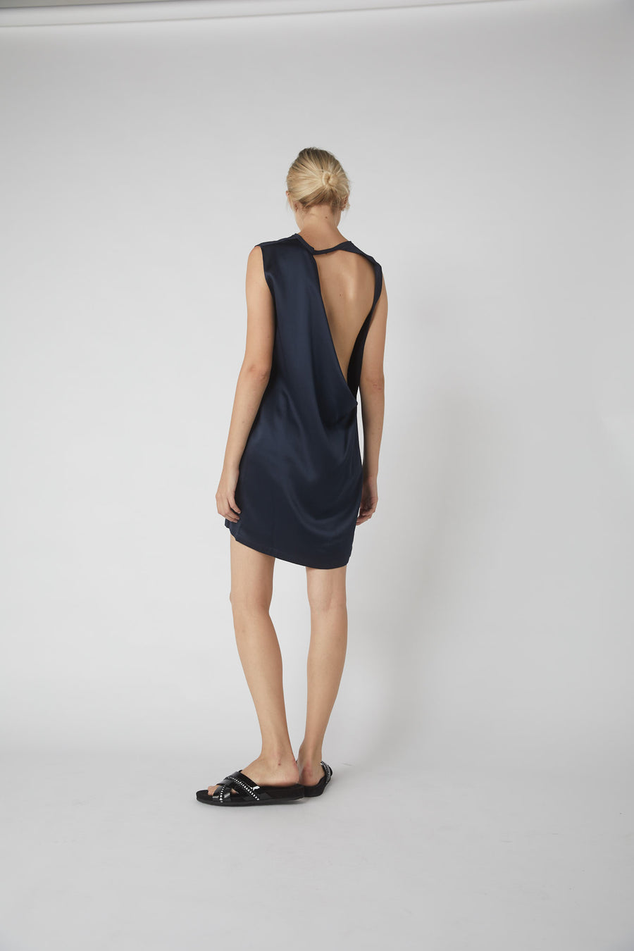 Duo Collapse Back Mini Dress / Ink