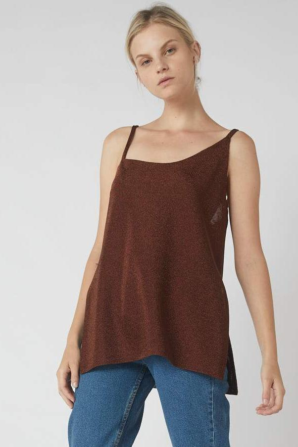 Asymmetrical Metallic Side Split Cami / Brass