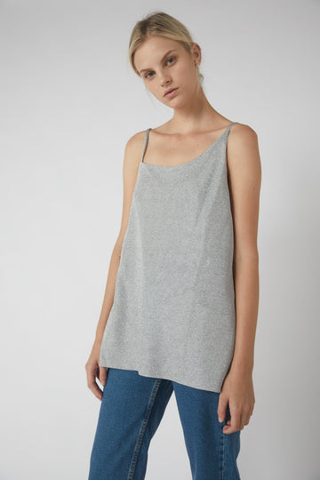Asymmetrical Metallic Short Back Cami / Silver