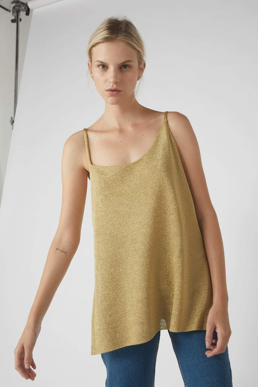 Asymmetrical Metallic Side Split Cami / Gold