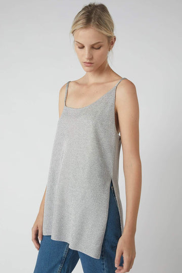 Asymmetrical Metallic Side Split Cami / Silver