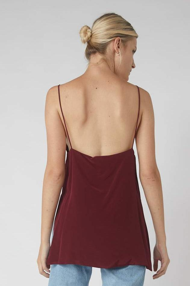 Asymmetrical Side Split Cami / Merlot