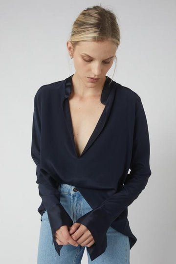 Tapered Deep V Long Sleeve Blouse / Ink
