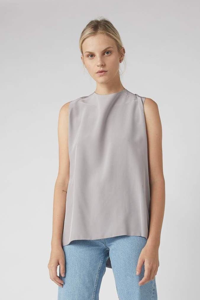 Deconstructed Collapse Back Cami / Dove Grey