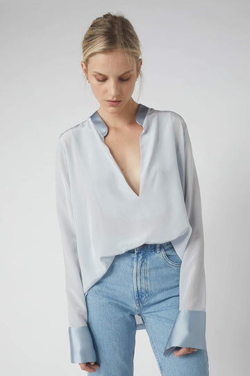 Tapered Deep V Long Sleeve Blouse / Powder Blue