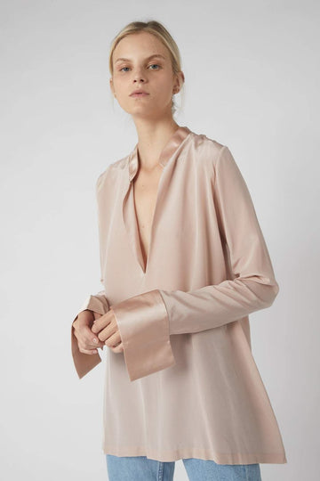 Tapered Deep V Long Sleeve Blouse / Millennial Pink