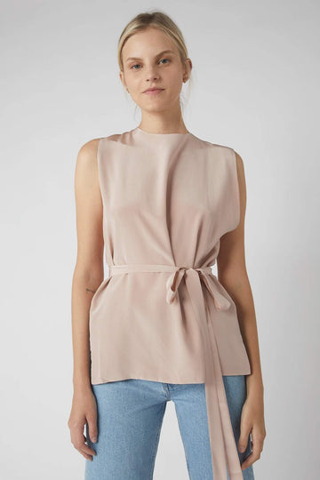 Deconstructed Collapse Back Cami / Millennial Pink