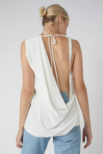 Neck Tie Collapse Tank / White