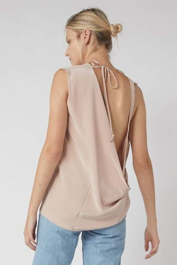 Neck Tie Collapse Tank / Millennial Pink