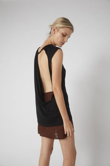 Full Collapse Back Jersey Tank / Black