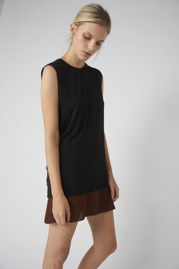 Petite Collapse Back Jersey Tank / Black