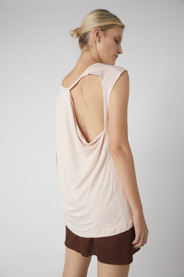 Petite Collapse Back Jersey Tank / Powder Pink