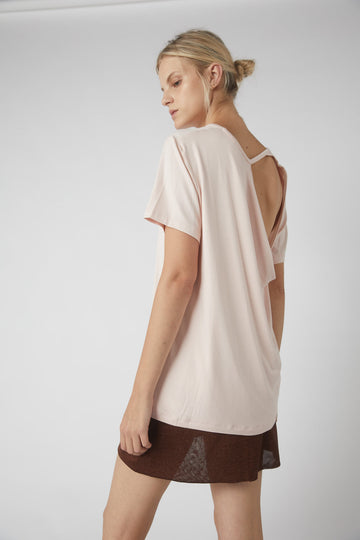 Petite Collapse Back Tee / Powder Pink