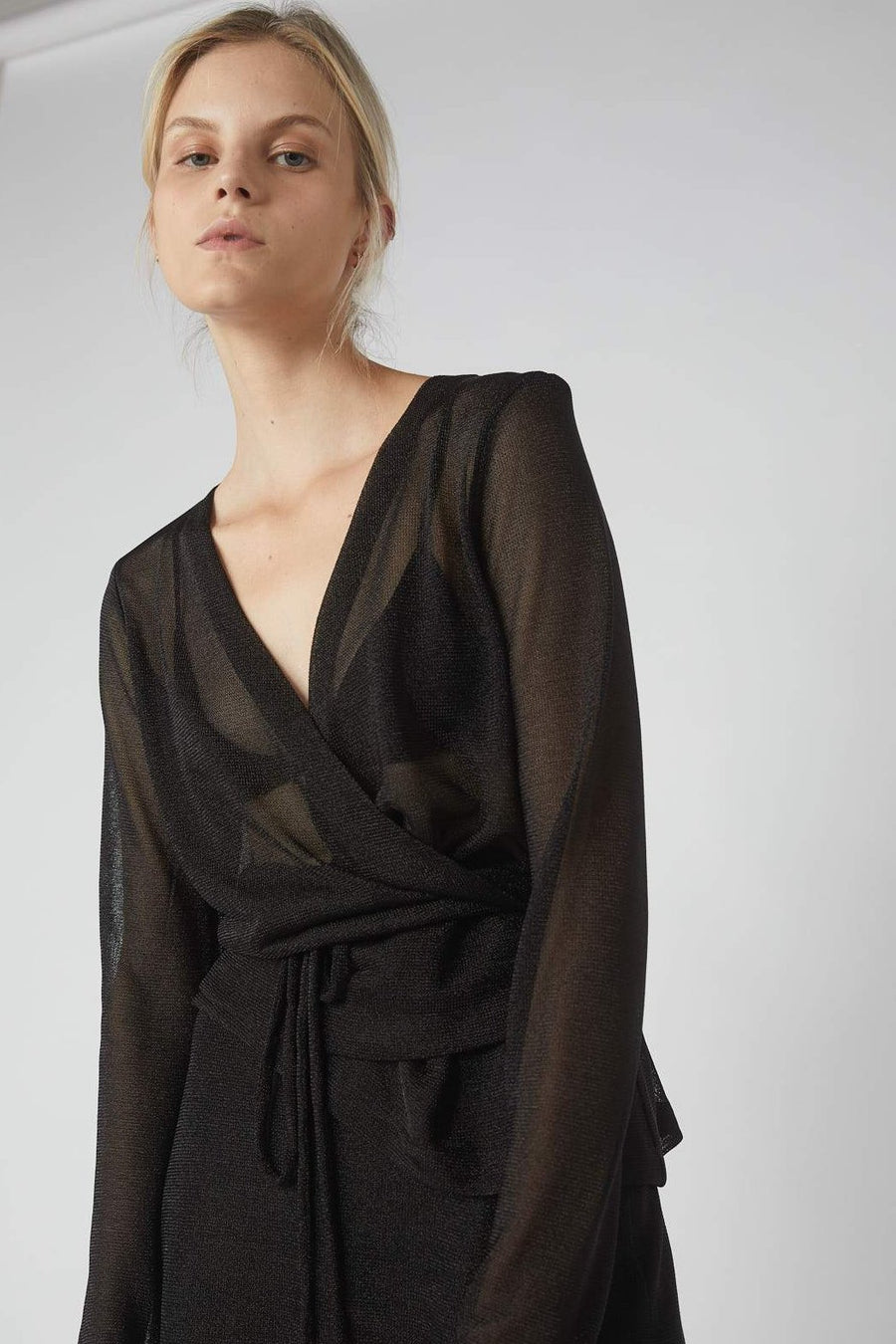 Decon Suited Metallic Wrap Blouse / Black