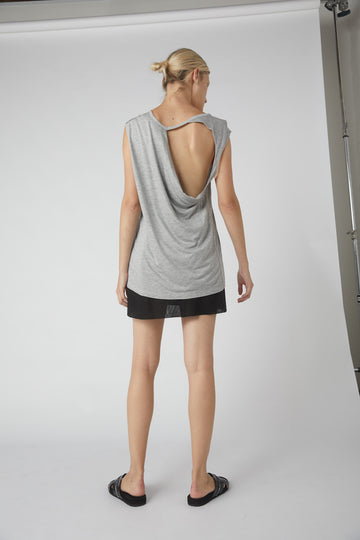 Petite Collapse Back Jersey Tank / Grey Marle