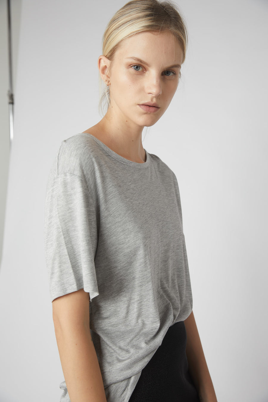 Petite Collapse Back Tee / Grey Marle