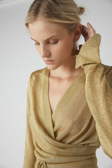 Decon Suited Metallic Wrap Blouse / Gold