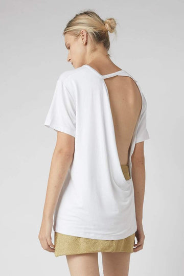 Full Collapse Back Tee / White