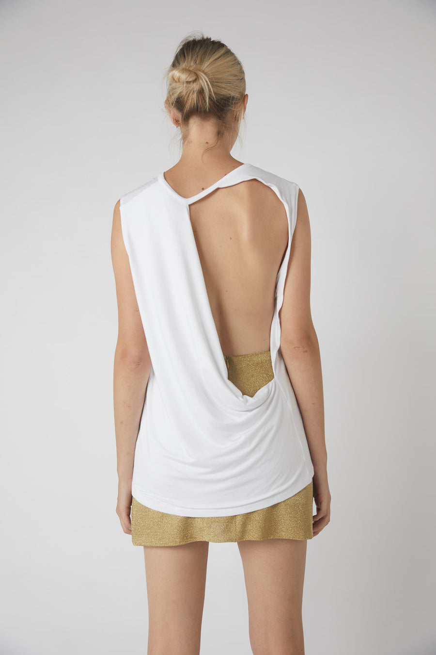 Full Collapse Back Jersey Tank / White