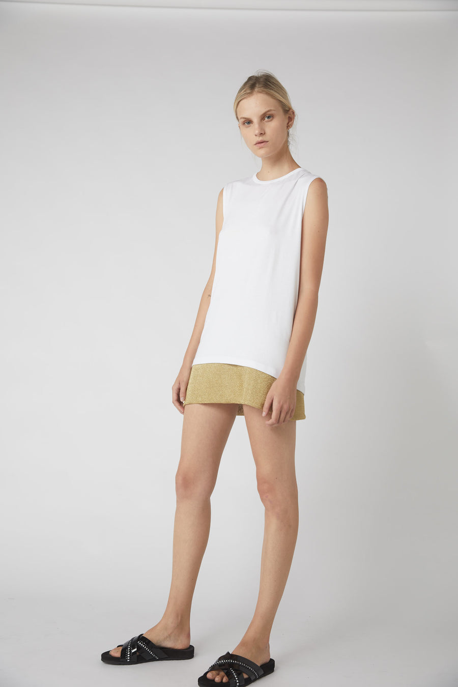Petite Collapse Back Jersey Tank / White
