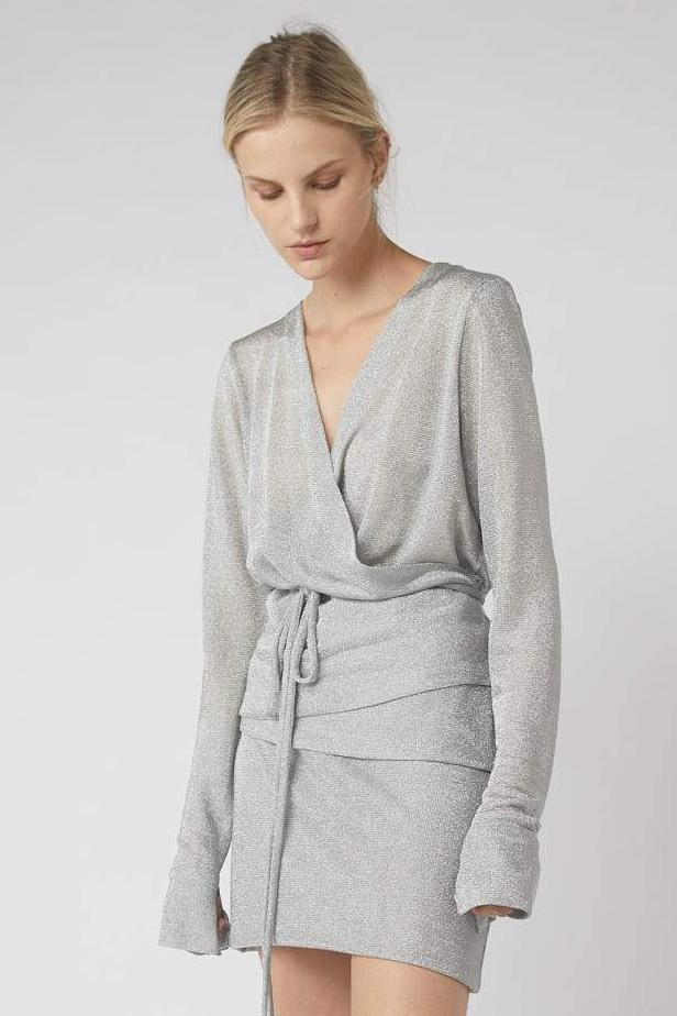 Decon Suited Metallic Wrap Blouse / Silver