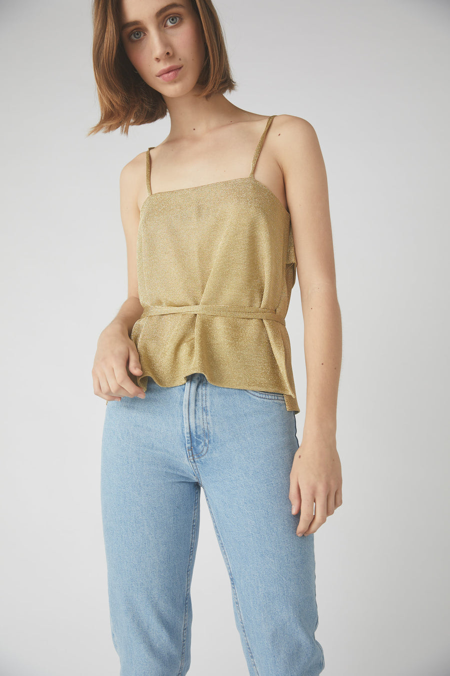 Madaline Metallic Wrap Cami / Gold