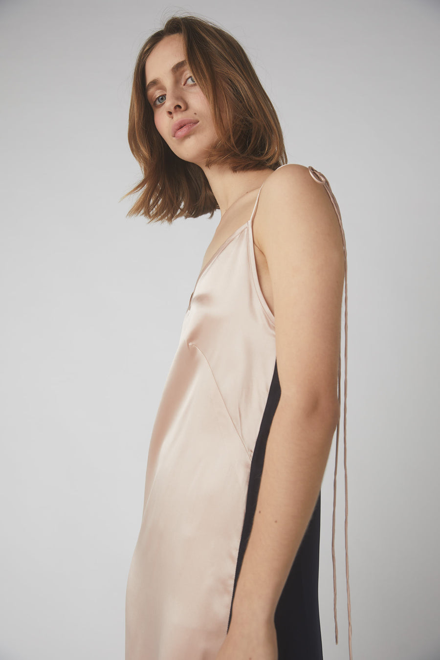 Aggy Lou Slip Dress / Ink & Dusty Pink