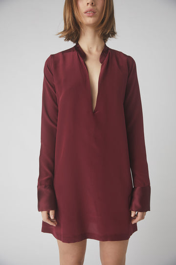 Tapered Deep V Mini Dress / Merlot