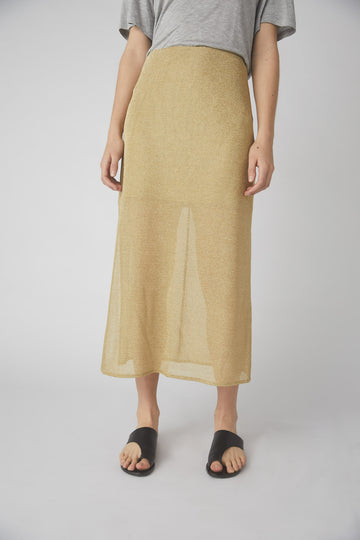 Cara Metallic Midi Skirt / Gold