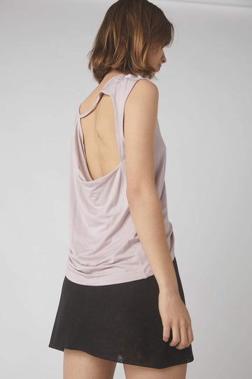Petite Collapse Back Tank / Dusty Pink