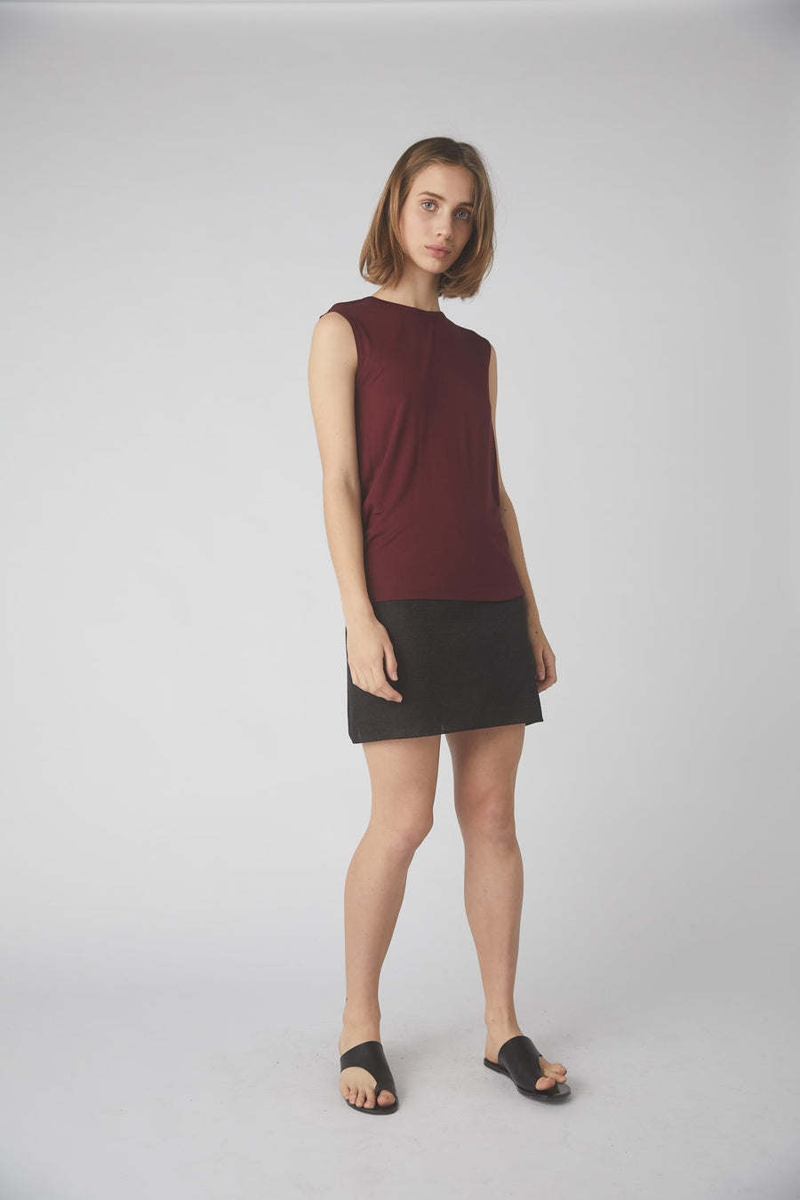 Petite Collapse Back Tank / Merlot
