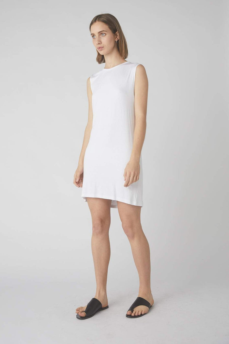 Full Collapse Back Jersey Dress / White