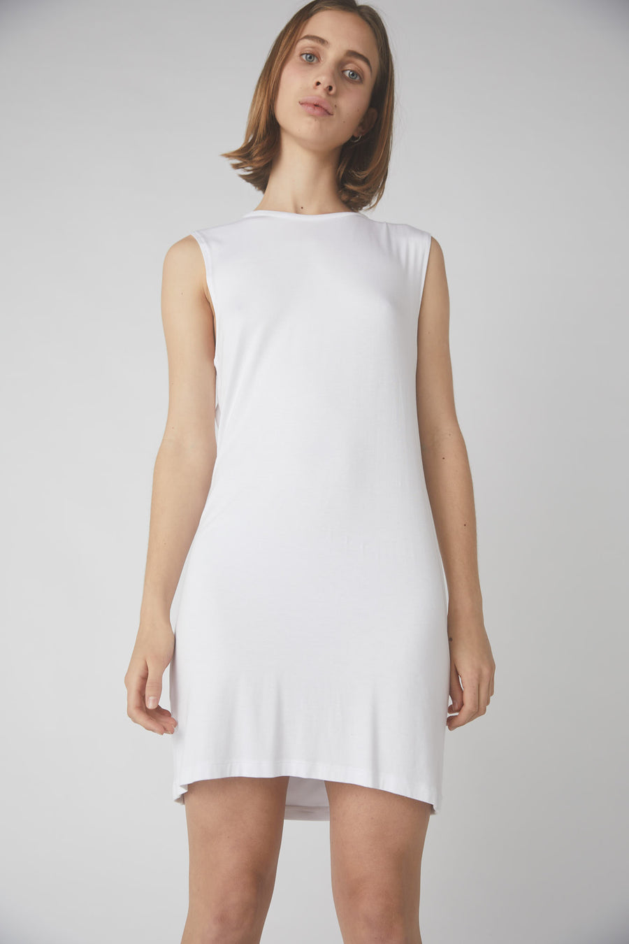 Petite Collapse Back Jersey Dress / White
