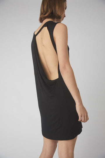Full Collapse Back Jersey Dress / BLACK