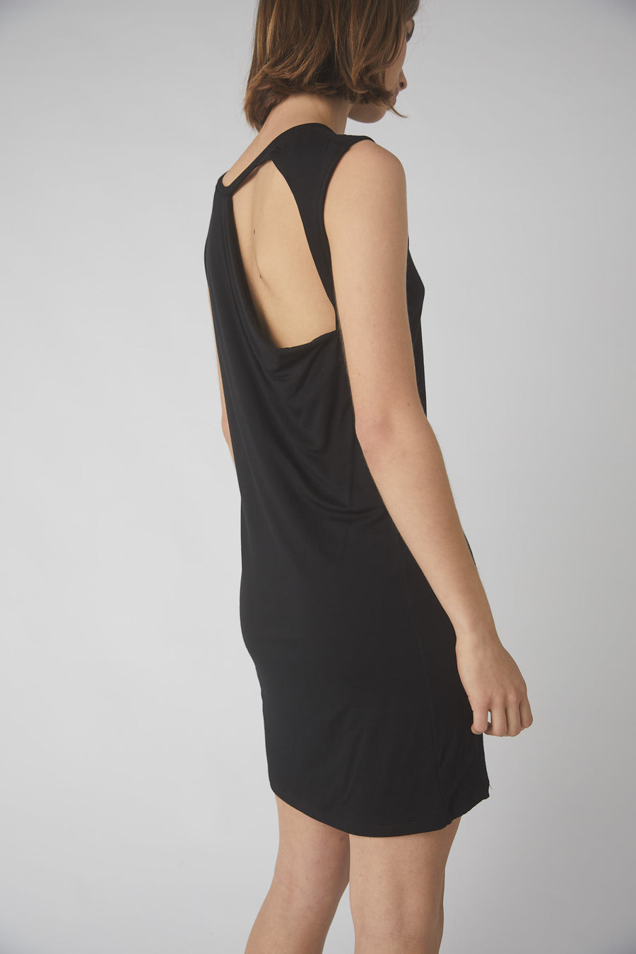 Petite Collapse Back Jersey Dress / Black