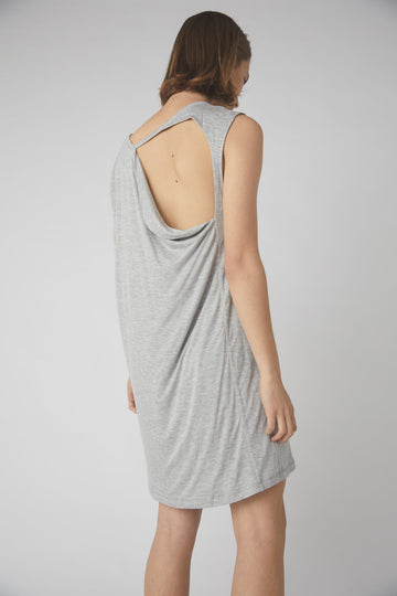 Petite Collapse Back Jersey Dress / Grey Marle