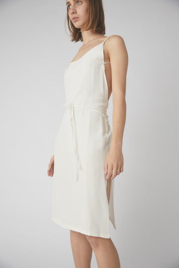 Asymmetrical Mid Wrap Dress / White