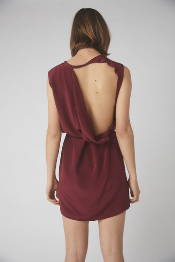 Collapse Back Mini Dress / Merlot