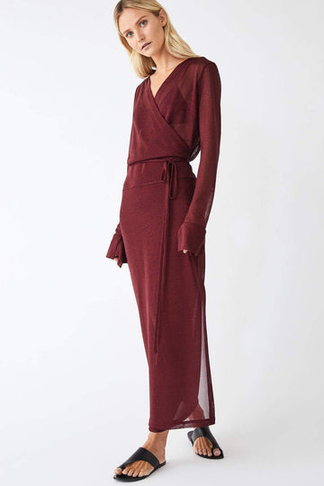 Formation Metallic Full Wrap Dress / Merlot