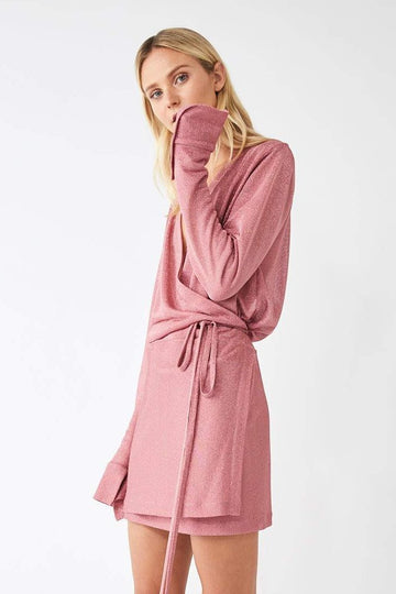 Formation Metallic Mini Wrap Dress / Powder Pink