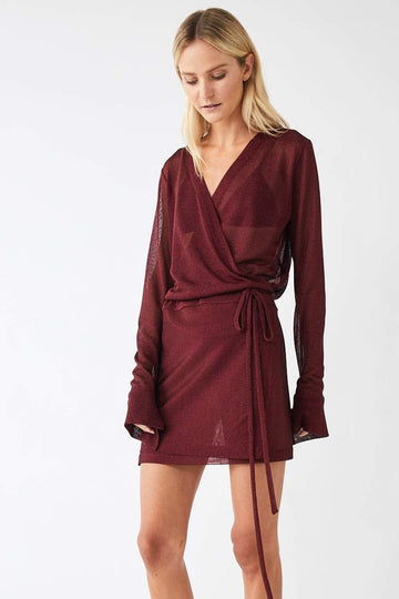 Formation Metallic Mini Wrap Dress / Merlot