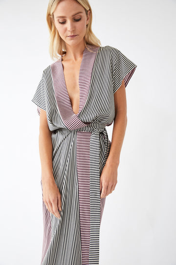 Underline Lounge Wrap Dress / Stripe