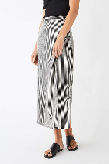 Utility Midi Wrap Skirt / Black & White Stripe