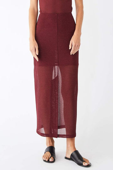 Poise Metallic Midi Skirt / Merlot