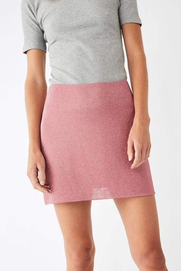 Contour Metallic Mini Skirt / Powder Pink