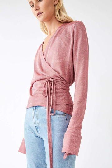 Formation Metallic Wrap Blouse / Powder Pink