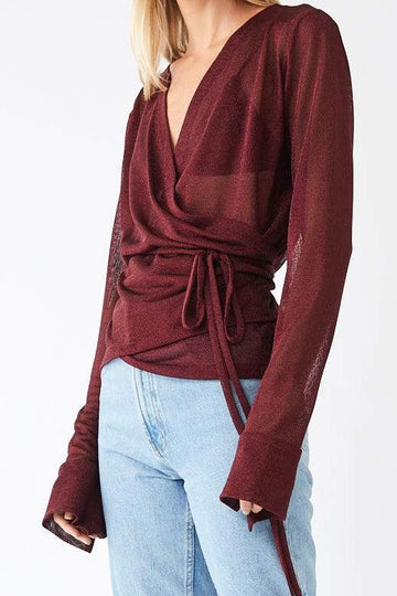 Formation Metallic Wrap Blouse / Merlot